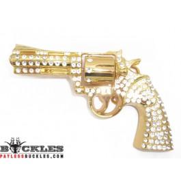 Rhinestone Pistol Gun Revolver Belt Buckle