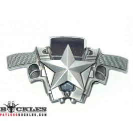 Double Crossed Gun Lighter Belt Buckle