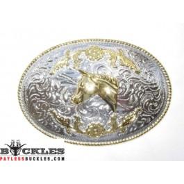 Two Tone Western Horse Belt Buckle