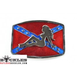 Confederate Flag belt Buckle with Mud Flap Girl