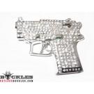 Rhinestone Pistol Gun Belt Buckle