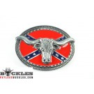 Confederate Flag Longhorn Belt Buckles