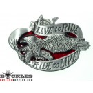 Live to Ride Motorcycle Biker Eagle Belt Buckle