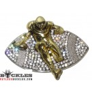 Rhinestone Sport Football Belt Buckle