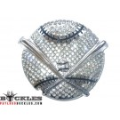 Rhinestone Baseball Belt Buckle