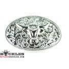 Silver Longhorn Western belt Buckle