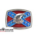 Confederate Flag belt Buckle with Eagle Head
