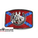 Confederate Flag belt Buckle with Horse Head