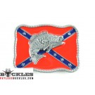 Confederate Flag Belt Buckle With Fish