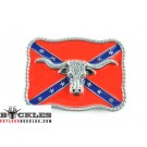 Confederate Rebel Belt Buckle with Longhorn