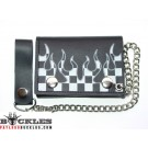 Leather Chain Wallet with Flame Logo