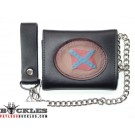 Leather Chain Wallet Confederate Flag